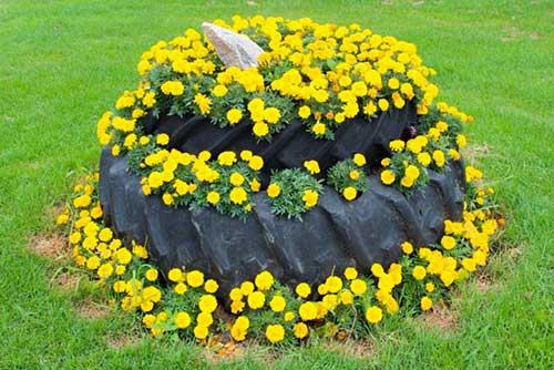 Цветы из клеенки для клумбы