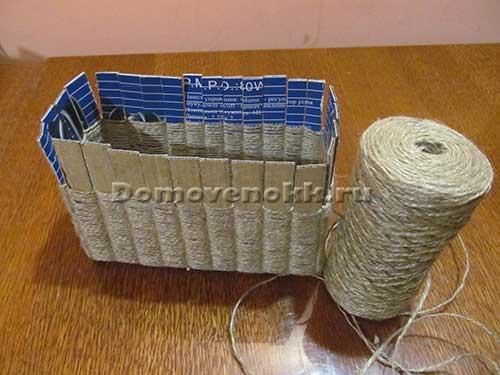 Плетеные корзины из шпагата своими руками