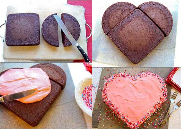 Торт бисквитный в виде сердца рецепт