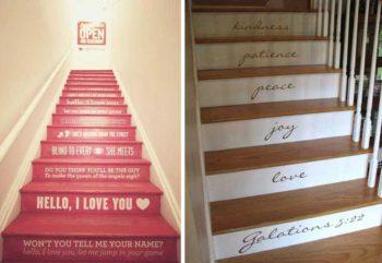 надписи на лестнице